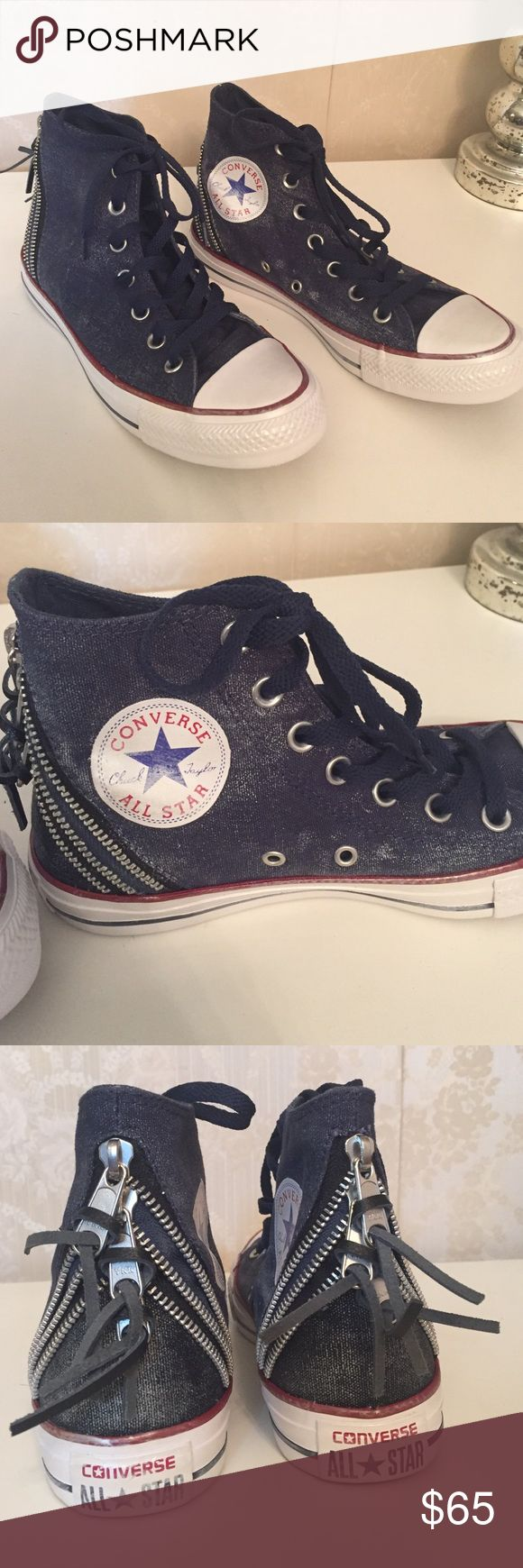 Denim Converse high tops Brand new without box Navy distress denim hi tops with zipper details on the back! Size 7 Women's Converse Shoes Athletic Shoes