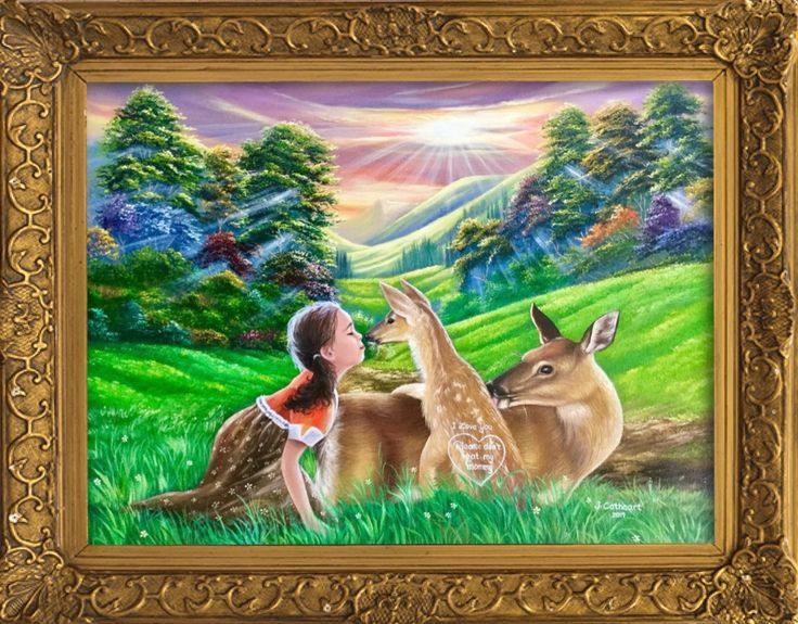 "'""I love you💕Please don't eat my mommy"" painted by Jean Cathcart. 🦌🦌Painting of the day!! Happy Easter Sunday to everyone!!! 😘😘😘😘🌹🌹' created in #neybers"