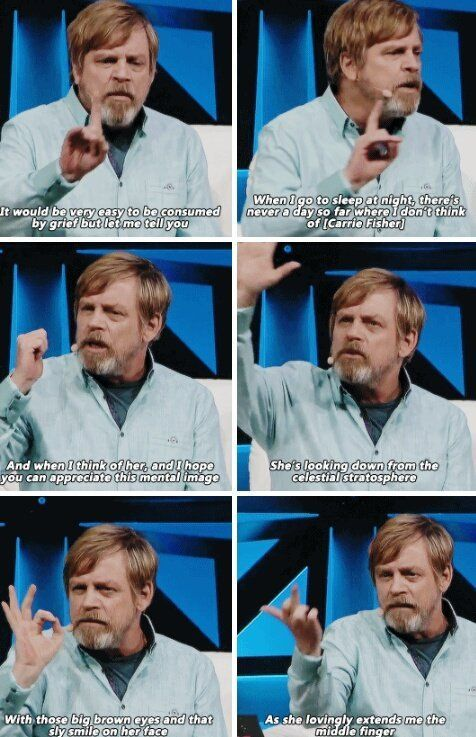 Mark Hamill pays tribute to Carrie Fisher. Love this so much ❤