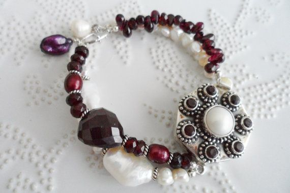 Garnet & Pearls  Dark Red Garnet with Pearly White by WencheDesign, $220.00