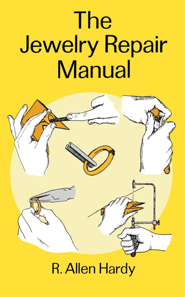 The Jewelry Repair Manual by R. Allen Hardy  Clear, step-by-step instructions for cleaning and repairing jewelry and setting stones, with complete descriptions of tools and equipment, their use and care. Also, ultrasonics, steaming, electroplating and other important techniques. Extensive appendix of questions and answers. 268 illustrations.