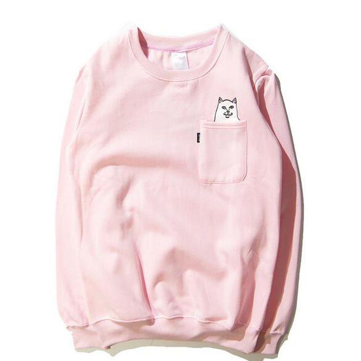 Dmart7deal RIPNDIP Sweatshirts Long Sleeve Casual Cotton Sweatshirt Pocket Cat Brand Clothing Hip Hop Hoodies