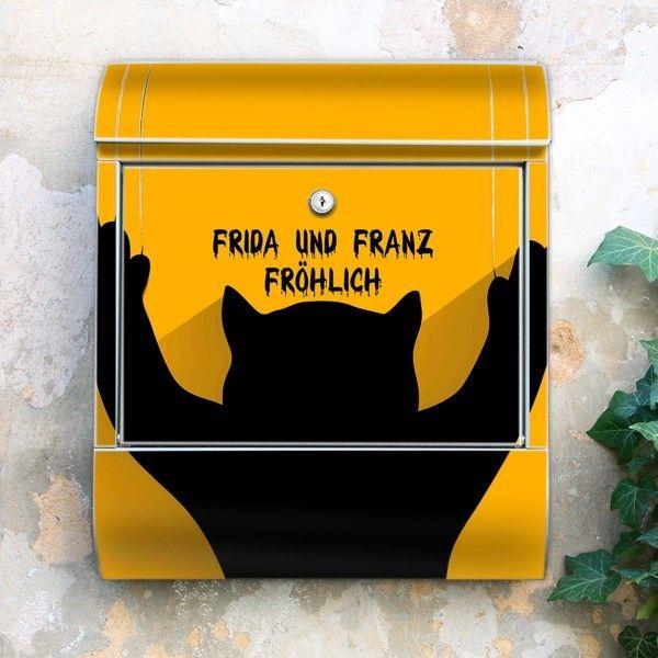 Stahl Briefkasten Scratch mit Wunschtext from banjado by DaWanda.com
