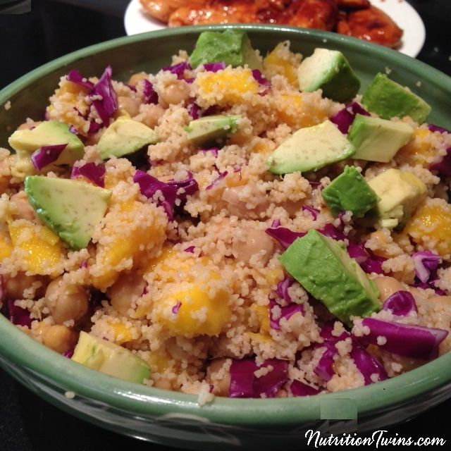 Mango Couscous with Chickpeas & Avocado | Only 110 Calories | Creamy, Satiating |Healthy & Fiber Packed | Insanely Addictive | Vegetarian | For Nutrition & Fitness Tips & RECIPES please SIGN UP for our FREE NEWSLETTER www.NutritionTwins.com