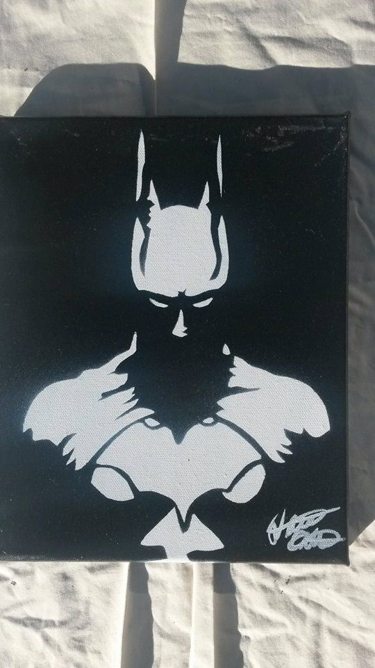 Batman 8x10 minimalist spray paint art on canvas made with hand cut stencils by WickedSprayArt on Etsy