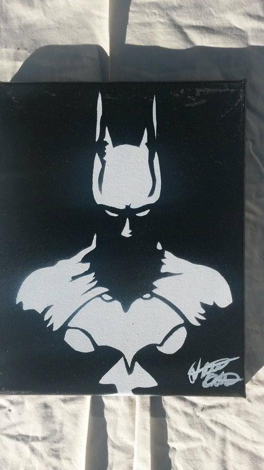Batman 8x10 minimalist spray paint art on canvas made with hand cut stencils by WickedSprayArt on Etsy