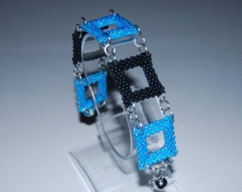 Square Pattern Beaded Bracelet made with TOHO beads - handmade using the Peyote 3D technique - Etsy