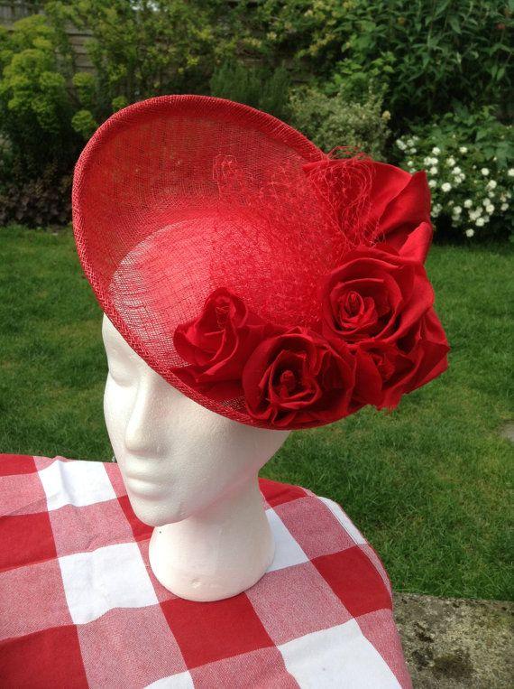 Red Rose Flower Sinamay Fascinator Hat