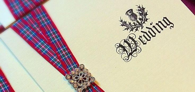Scottish themed invitation, custom made using Royal Stewart tartan ribbon! Various styles available, endless choice! By Made Marvellous