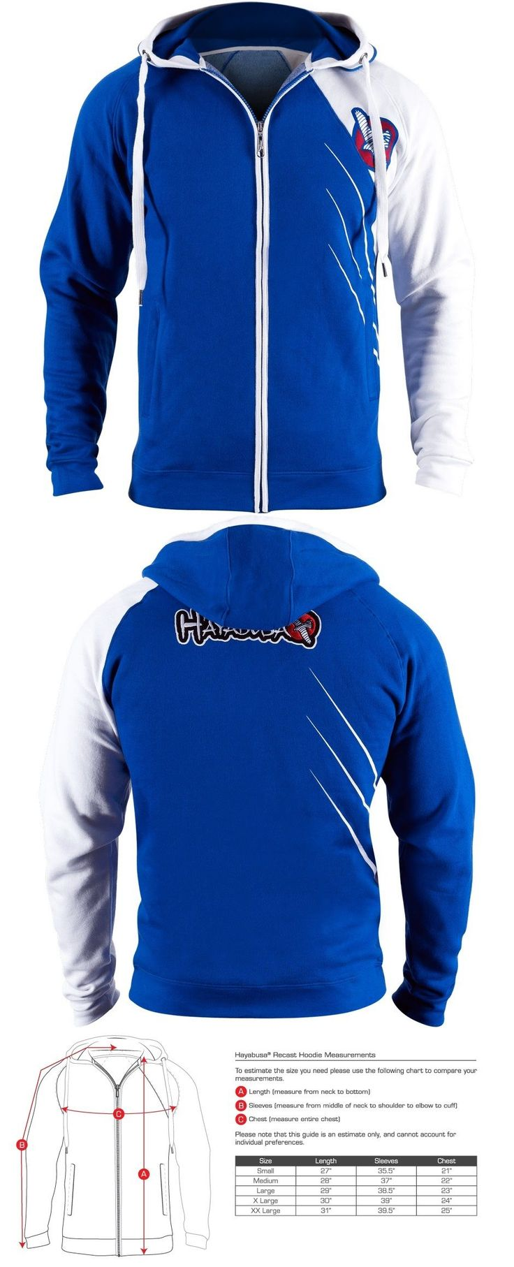 Hoodies and Sweatshirts 179770: New Hayabusa Recast Mens Hoodie Sweat Shirt Mma - Blue / White - Large L BUY IT NOW ONLY: $79.99