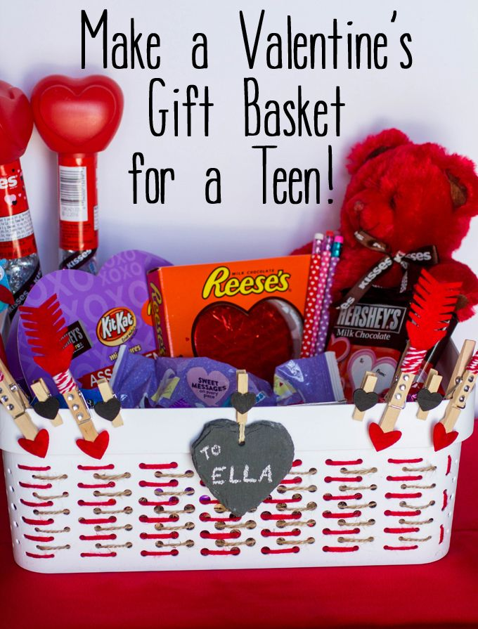 Make a Valentines Gift Basket for a Teen #HSYMessageOfLove #sponsored