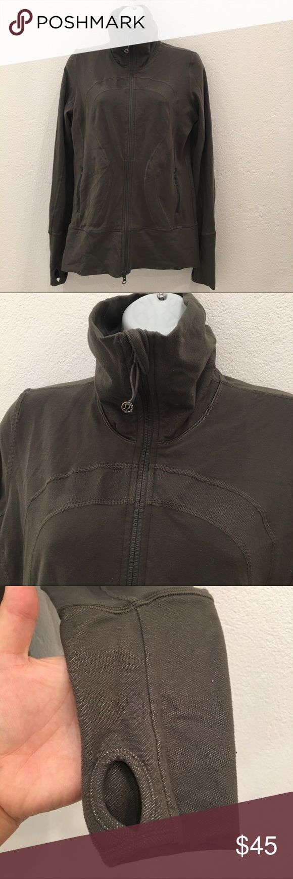 Lululemon Gray Green Full Zipup Jacket size 8 Preowned authentic Lululemon Gray Green Full Zipup Jacket size 8. Has thumbholes. Please look at pictures for better reference. Thank you for looking and happy shopping!! lululemon athletica Jackets & Coats