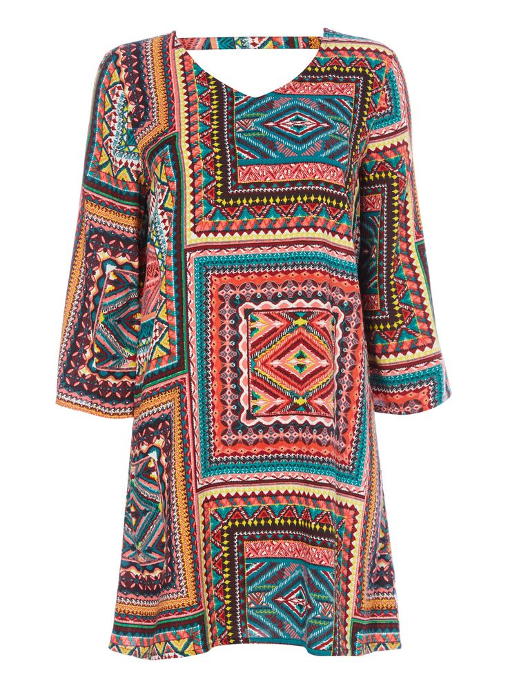 Brighten your holiday wear with this vibrant patterned dress, designed with a plunging back supported by a stylish neck strap. Wear with colourful sandals to complete the look. Multicoloured voodoo patchwork dress Three quarter sleeves Pattern design V-neckline Plunge back with strap Model's height is 5'11
