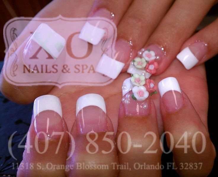 French Nails With 3D Flowers Pearls Nail Design Wedding Art