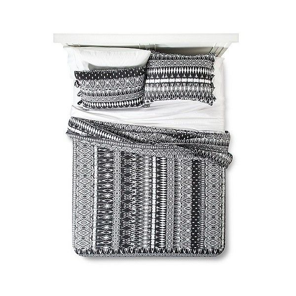 Bryn Quilt Set ($45) ❤ liked on Polyvore featuring home, bed & bath, bedding, quilts, black, geometric bedding, quilted bedding, geometric pattern bedding, king size bedding and king bedding
