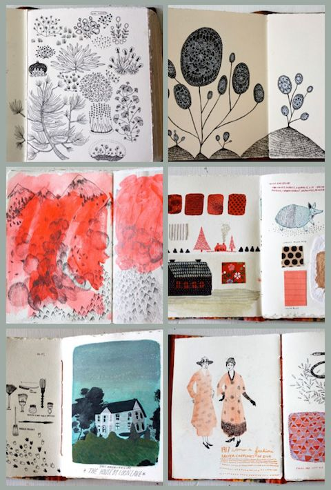 Becca Stadtlander's sketchbooks are hand bound and hand filled... beautiful!
