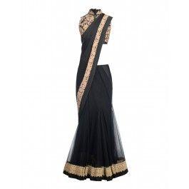 Black Lengha Sari with Dori Embroidery