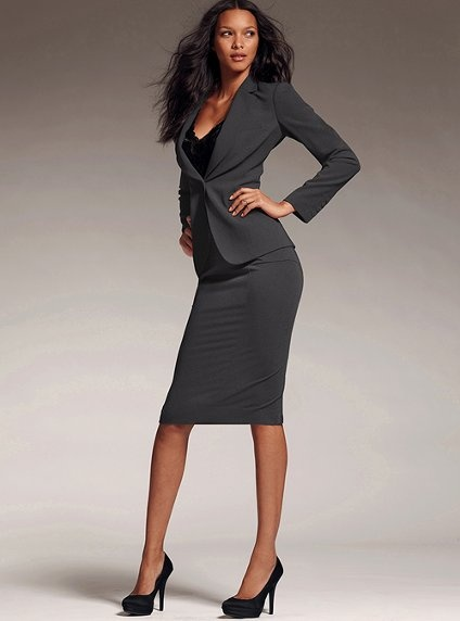 Suits-Back Pleat Pencil Skirt-Heather Gray-Lace V-Neck-Dusty Plumeria-Strong Shoulder Jacket-Heather Gray