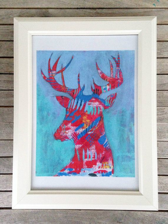 Reindeer, Art Print, Colorful Animal Art, Quirky Art,  Wall Art, Kids Art, Art Gift, Choose from 3 different sizes