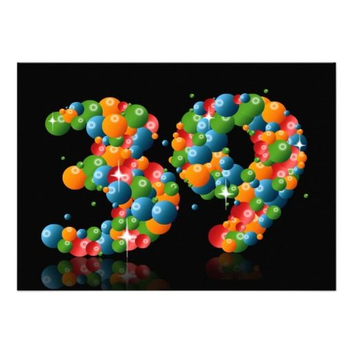 39th Birthday party, with bubbles and balls Personalized Invitation
