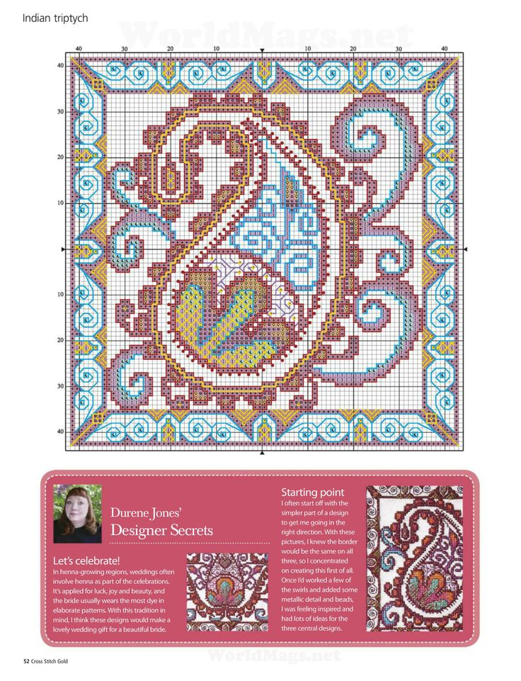 Cross-stitch Henna Trio, part 3.. color chart on part 2... http://imgbox.com/acd7mug2