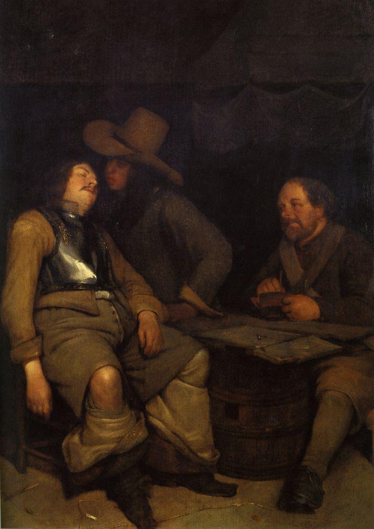 Gerard ter Borch (II): Interieur met een man die een slapende soldaat pest. ca. 1652-1653. Wallraf-Richartz-Museum, Keulen. Voorbeeld voor Gerard Dou: Slapende vrouw geplaagd door twee soldaten. ca. 1660-1665. Dou nam het onderwerp over.