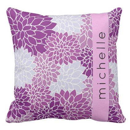 Your Name - Dahlia Flowers Blossoms - Blue Purple Throw Pillow - purple floral style gifts flower flowers diy customize unique