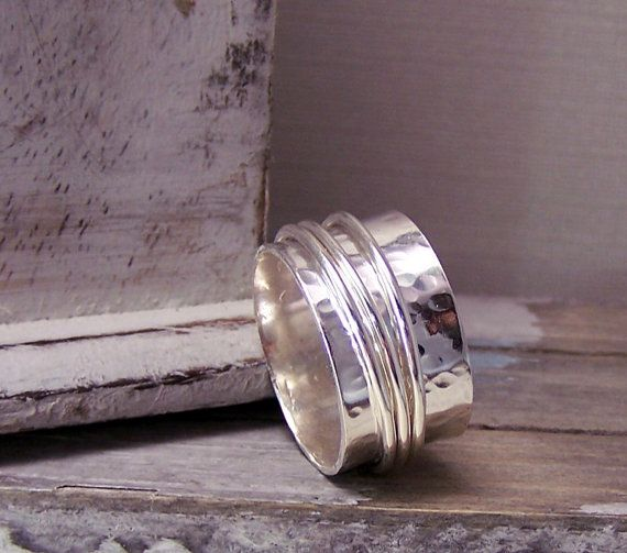 ON SALE Sterling spinner ring, fiddle ring, wide band ring SR107