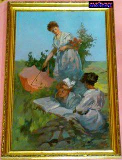 Imádom a régiségeket, és a művészetet.: Felolvasás a réten, impresszionista festmény.