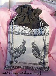 sac pochon gris coq