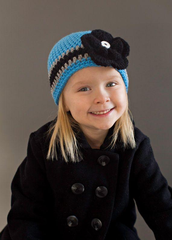 Carolina Panthers Football Beanie Hat/Football Hat by TwirlyGurlz