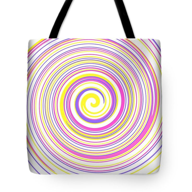 Colorful spiral art on a tote bag.