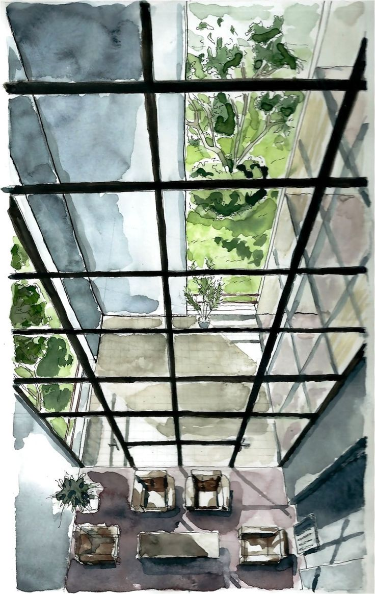 Casa Bianchi/ Mario Botta  Perspective interior #painting #watercolor