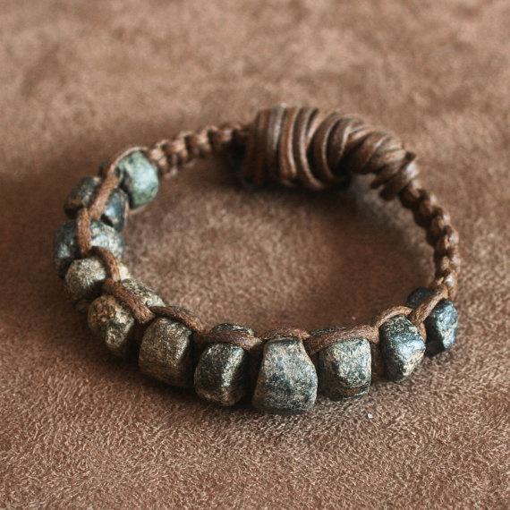 Ancient Granite Bead Macrame Bracelet Rustic Gray Black and Brown