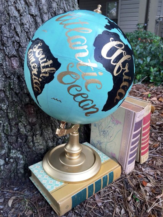 Hand Painted Vintage World Globe, 12 Inch, Teal/Black/Gold, Hand Lettered by PrettyLittleDoodads on Etsy