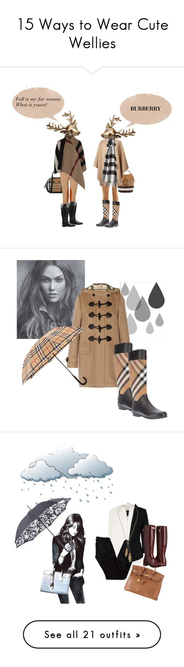 """""""15 Ways to Wear Cute Wellies"""" by polyvore-editorial ❤ liked on Polyvore featuring rainboots, Wellies, waystowear, J Brand, Burberry, Michael Kors, Wildfox, shoes, boots and black rain boots"""