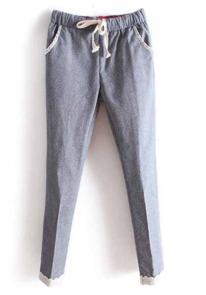 Gray Mid Waist Elastic Straight Cotton Pants