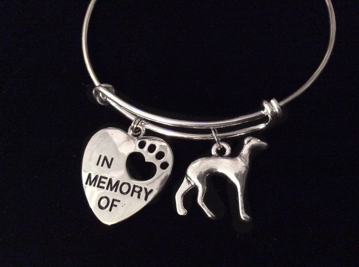 In Memory of Greyhound 3D Dog Charm Silver Expandable Bracelet Adjustable Bangle