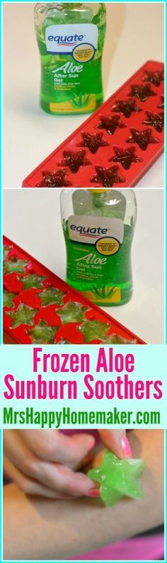 Got sunburn? Want relief? Don't look any further than these super easy frozen Aloe Vera Sunburn Soothers. They're instant relief!  | MrsHappyHomemaker.com