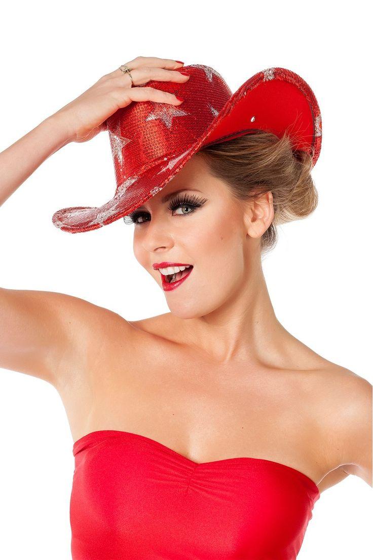 Cowboyhoed pailletten rood met zilveren sterren