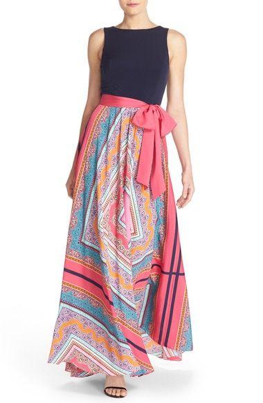 Eliza J Scarf Print Jersey & Crêpe de Chine Maxi Dress (Regular & Petite) available at #Nordstrom