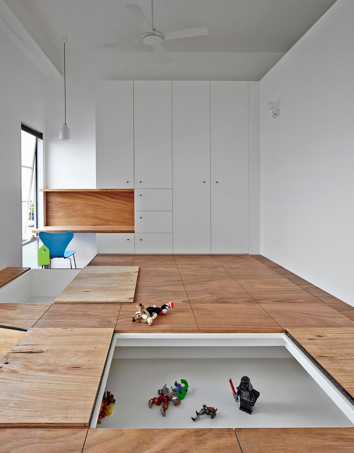 Austin Maynard Architects  TOY STORAGE. Recessing play areas into a raised floor, which double as a place for kids to stash their toys, is a novel approach in this Melbourne home.