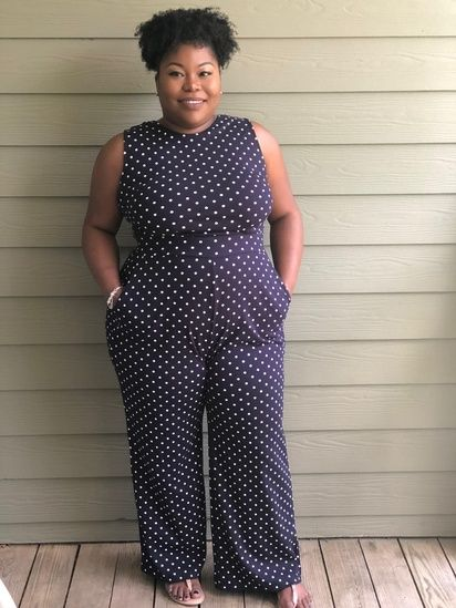 f520ccf1231f Polka Dot Jumpsuit in Navy Blue with Tight Waist and Wide Leg
