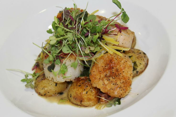 Scallops and Bacon Roasted baby potatoes, sauteed Swiss chard and a ...