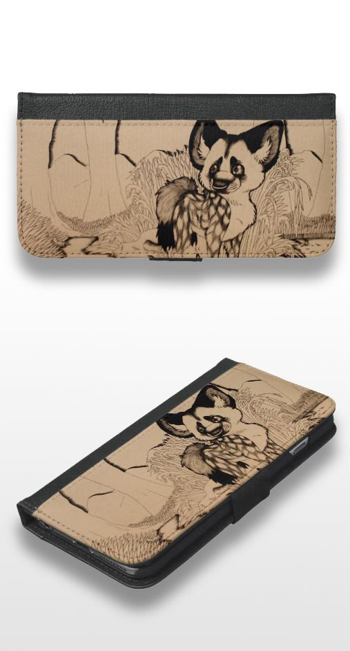 """""""Wasteland"""" Sepia illustrated african wild dog iPhone 6/6s Plus Wallet Case"""
