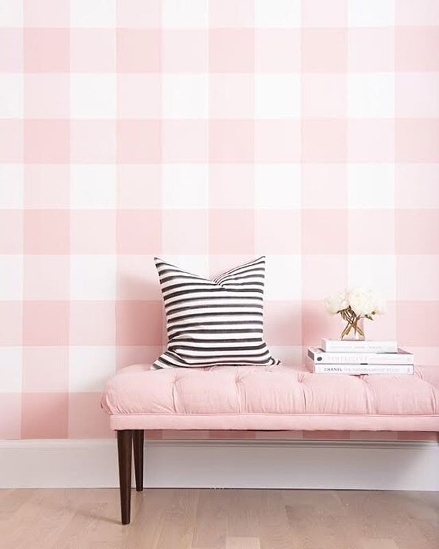 Because everything's better in wallpaper Grande Check in Blush will be available with our new collection coming soon! #cwwallpaper