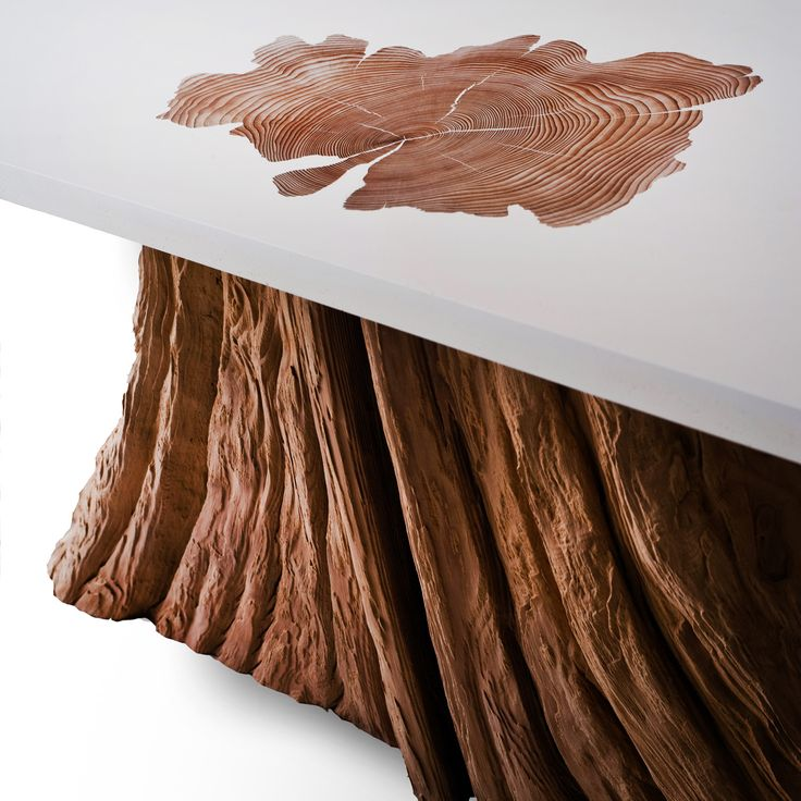 Bloom coffee table. A salvaged cedar tree base is fused with a rectangular, white resin top. Love the detailing of the trunk texture.