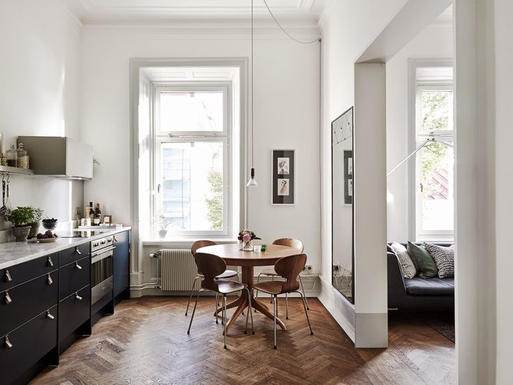 Fab kitchen and sitting room in a Swedish apartment