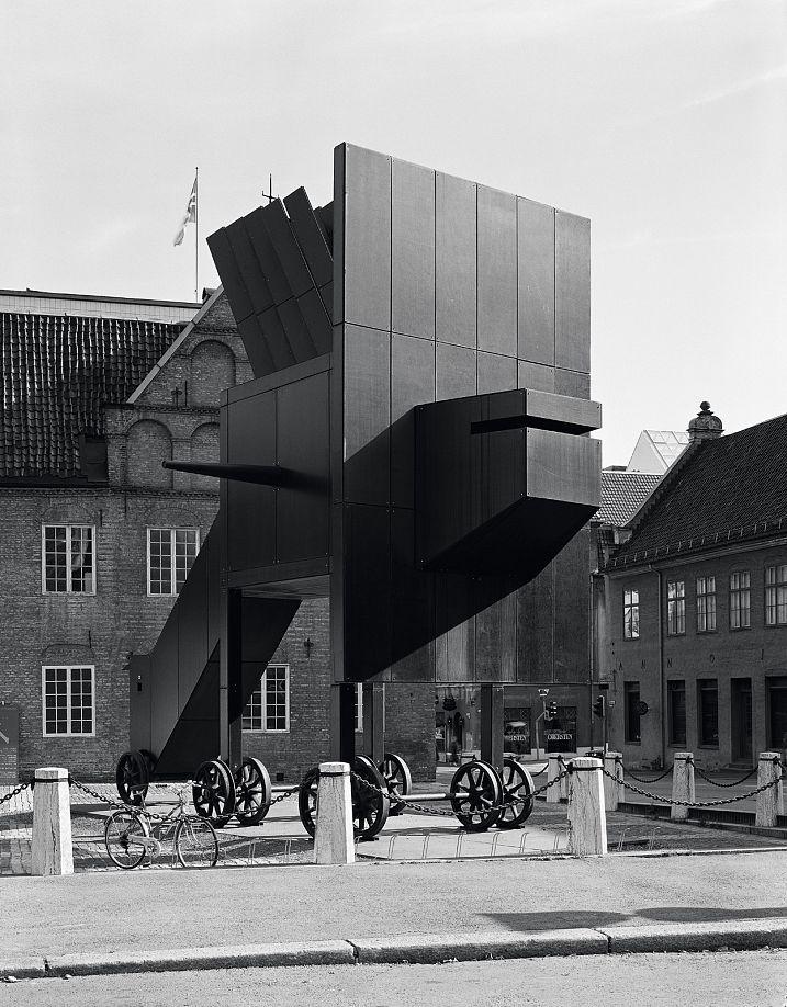 "John Hejduk's installation ""Security"" in Oslo, 1989. Photo: Helene Binet"