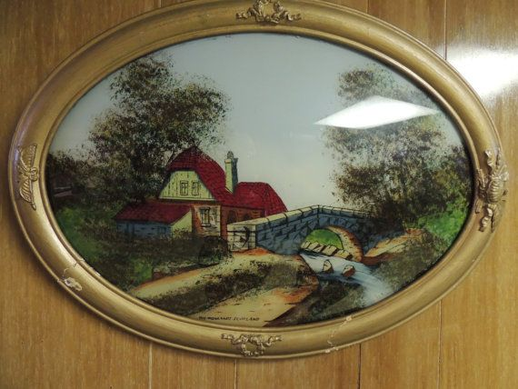 Antique Oval Reverse Glass Painting On Convex Glass Wall